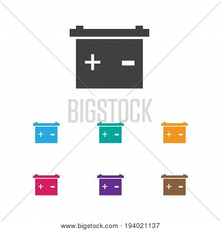 Vector Illustration Of Car Symbol On Battery Icon. Premium Quality Isolated Accumulator Element In Trendy Flat Style.