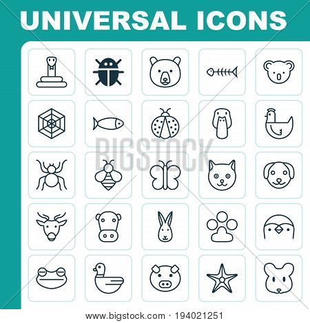 Zoology Icons Set. Collection Of Hen, Bumblebee, Goose And Other Elements. Also Includes Symbols Such As Piggy, Hen, Deer.