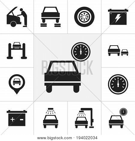 Set Of 12 Editable Car Icons. Includes Symbols Such As Automobile, Mechanic, Vehicle Wash And More. Can Be Used For Web, Mobile, UI And Infographic Design.