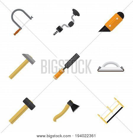 Set Of 9 Editable Equipment Icons. Includes Symbols Such As Emery Paper, Handsaw, Knife. Can Be Used For Web, Mobile, UI And Infographic Design.