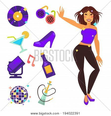 Party night or dance club flat icons. Vector isolated dancing girl, fashion sunglasses or cocktail drink and music disco ball with vinyl record and style shoes or hookah shisha of lounge bar