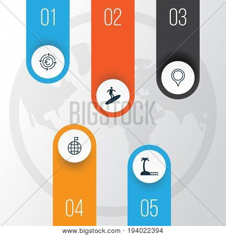 Tourism Icons Set. Collection Of Travel Direction, Boardsports, Island Beach Elements. Also Includes Symbols Such As Man, Island, Visited.