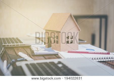 property business with houses and buildings for sale. Business man buying and selling properties