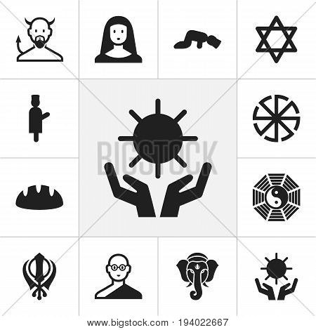 Set Of 12 Editable Faith Icons. Includes Symbols Such As Hexagram, Indian Elephant, Sajdah And More. Can Be Used For Web, Mobile, UI And Infographic Design.