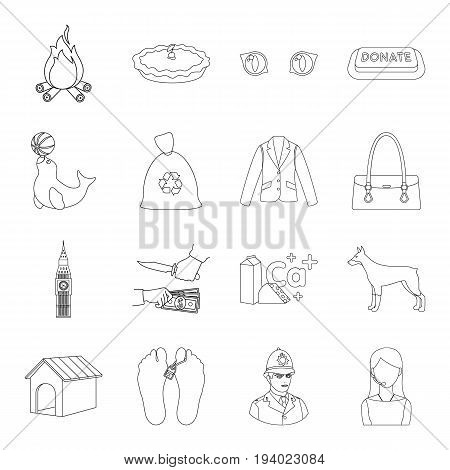 travel, justice, circus and other  icon in outline style. animal, medicine, ecology icons in set collection.