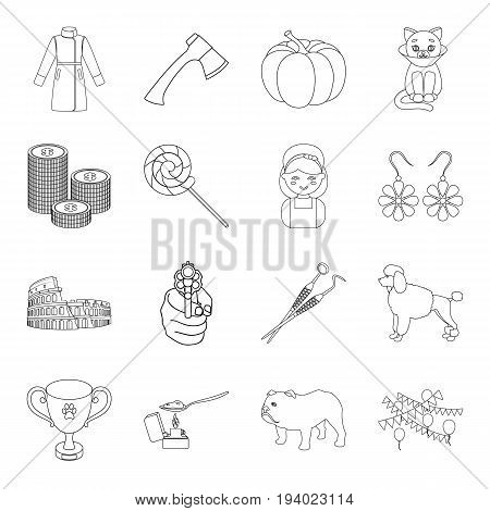 medicine, cleaning, justice and other  icon in outline style.history, finance, travel icons in set collection.