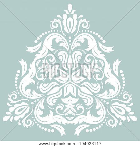 Oriental vector triangular white pattern with arabesques and floral elements. Traditional classic ornament. Vintage pattern with arabesques