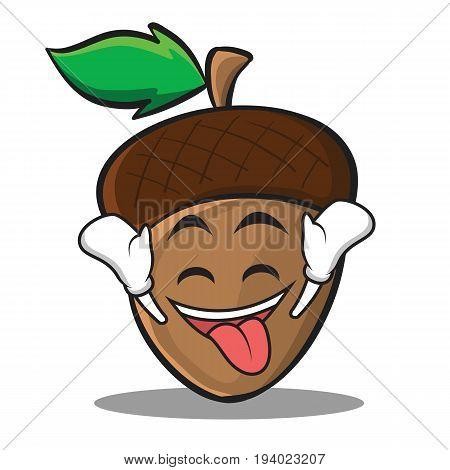 Ecstatic acorn cartoon character style vector illustration
