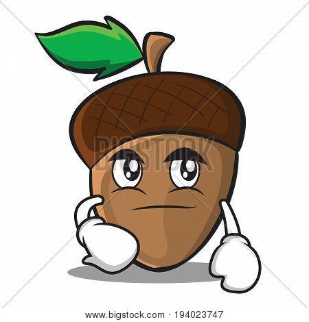 Smirking acorn cartoon character style vector illustration