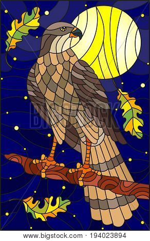 Illustration in stained glass style with fabulous Falcon sitting on a tree branch against the sky and moon
