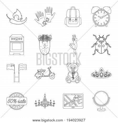 Cooking, traveling, medicine and other  icon in outline style.education, hunting, animal icons in set collection.