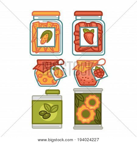 Preserves or preserved food in jar pots and bottles. Vector isolated flat icons set of homemade fruit berry jam or juice compote and pickles of tomato and cucumber vegetables and olive oil can