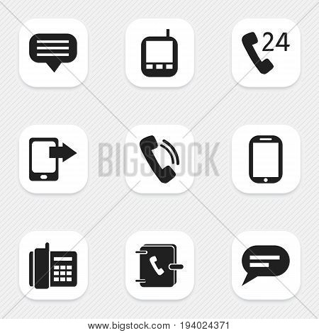 Set Of 9 Editable Device Icons. Includes Symbols Such As Home Cellphone, Transceiver, Chat And More. Can Be Used For Web, Mobile, UI And Infographic Design.