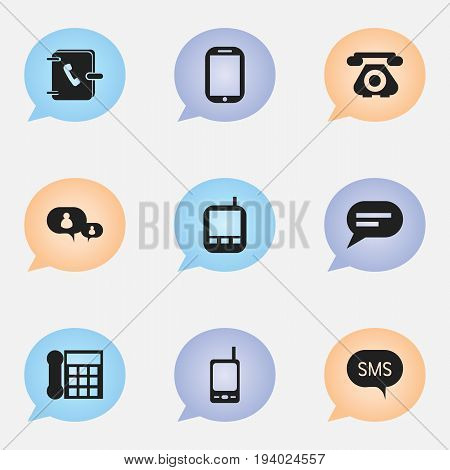 Set Of 9 Editable Device Icons. Includes Symbols Such As Retro Telecommunication, Transceiver, Comment And More. Can Be Used For Web, Mobile, UI And Infographic Design.