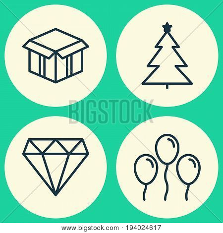 Holiday Icons Set. Collection Of Decorated Tree, Air Ball, Open Cardboard And Other Elements. Also Includes Symbols Such As Celebration, Brilliant, Cardboard.