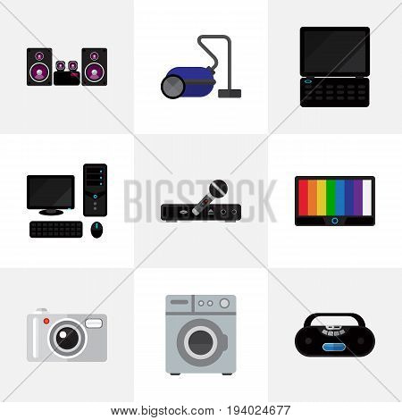 Set Of 9 Editable Tech Icons. Includes Symbols Such As Stereo System, Cassette Player, Microphone And More. Can Be Used For Web, Mobile, UI And Infographic Design.