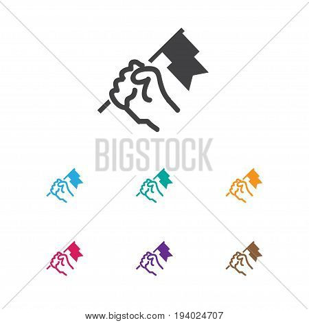 Vector Illustration Of Job Symbol On Flag Icon. Premium Quality Isolated Rally Element In Trendy Flat Style.