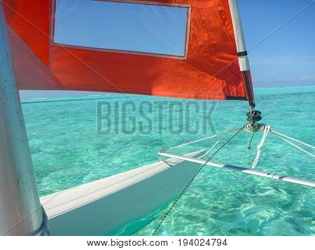 Hobie Cat Sailing in the beautiful clear waters of the Maldives