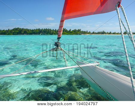 Hobie Cat Sailing in the beautiful Maldive Islands of South East Asia