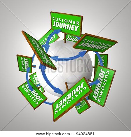 Customer Journey Signs Arrows Paths Words 3d Illustration