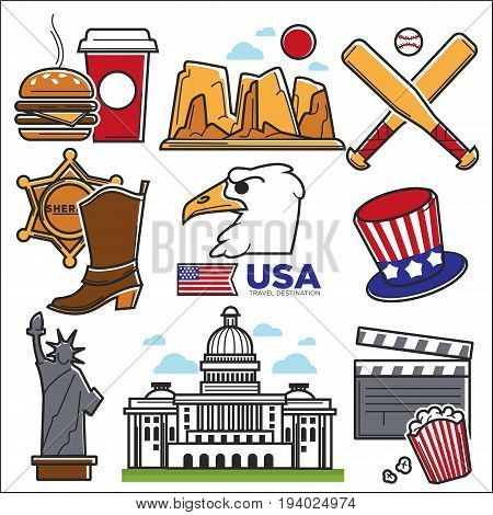USA America culture and travel famous landmarks attractions. Vector icons set of American flag and map, Statue of Liberty, US White House, dollar and Colorado canyon, baseball or rugby and fast food