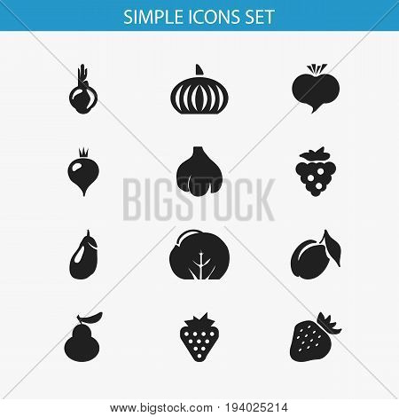 Set Of 12 Editable Fruits Icons. Includes Symbols Such As Apricot, Berry, Duchess And More. Can Be Used For Web, Mobile, UI And Infographic Design.
