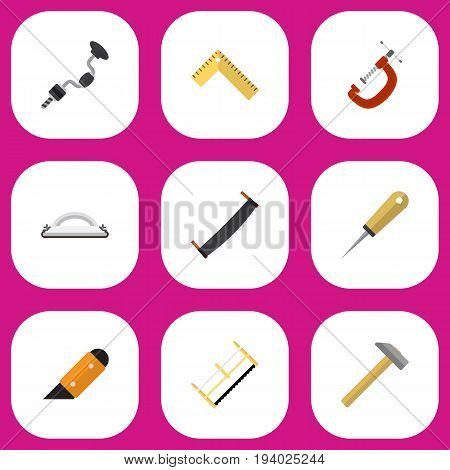 Set Of 9 Editable Equipment Icons. Includes Symbols Such As Emery Paper, Hammer, Bodkin And More. Can Be Used For Web, Mobile, UI And Infographic Design.