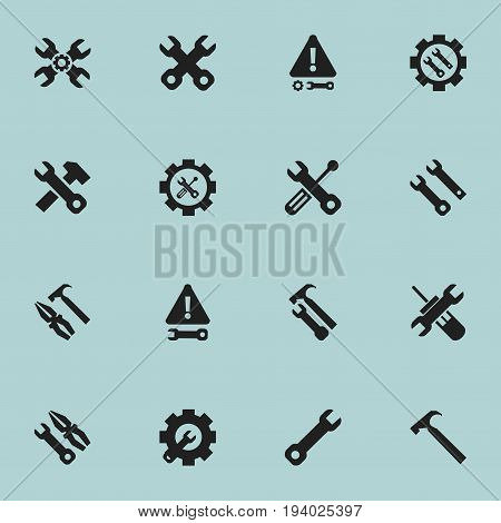 Set Of 16 Editable Tool Icons. Includes Symbols Such As Warning, Technical Support, Build Equipment And More. Can Be Used For Web, Mobile, UI And Infographic Design.