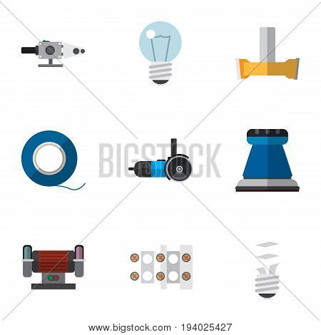 Set Of 9 Editable Electrical Icons. Includes Symbols Such As Orifice, Bulb, Terminal Block And More. Can Be Used For Web, Mobile, UI And Infographic Design.
