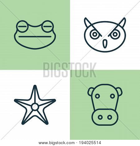 Zoo Icons Set. Collection Of Kine, Starfish, Toad And Other Elements. Also Includes Symbols Such As Toad, Sea, Frog.