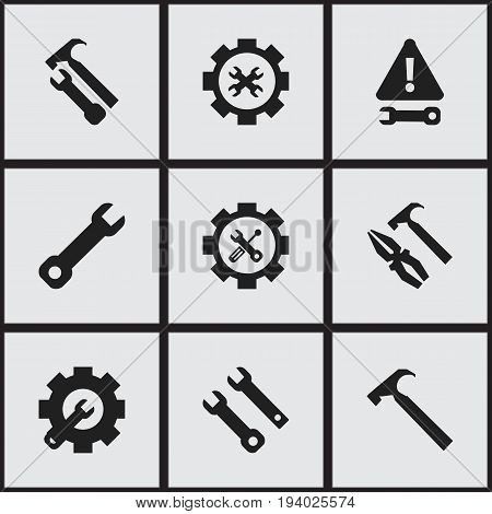 Set Of 9 Editable Service Icons. Includes Symbols Such As Handle Hit, Service, Wrench. Can Be Used For Web, Mobile, UI And Infographic Design.
