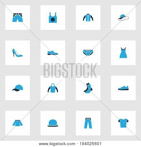 Dress Colorful Icons Set. Collection Of Sneakers, T-Shirt, Socks And Other Elements. Also Includes Symbols Such As Pants, Trousers, Shoes.