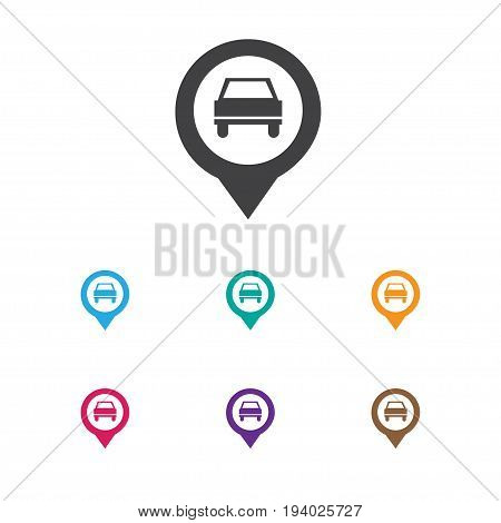 Vector Illustration Of Car Symbol On Location Icon. Premium Quality Isolated Pinpoint Element In Trendy Flat Style.