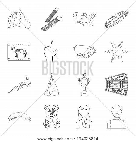 Vegetables, weather, veterinarian and other  icon in outline style.Sport, service, country icons in set collection.