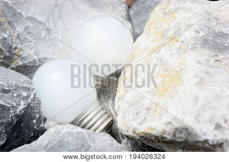 Light bulbs glowing In the rock nook