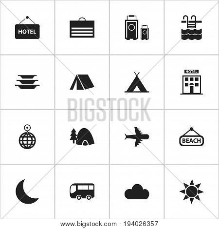Set Of 16 Editable Holiday Icons. Includes Symbols Such As Dishes, Overcast, Point And More. Can Be Used For Web, Mobile, UI And Infographic Design.