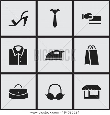 Set Of 9 Editable Business Icons. Includes Symbols Such As Package, Steam Iron, Reticule And More. Can Be Used For Web, Mobile, UI And Infographic Design.