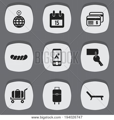 Set Of 9 Editable Holiday Icons. Includes Symbols Such As Sunbathing, Date Block, Plastic Money And More. Can Be Used For Web, Mobile, UI And Infographic Design.
