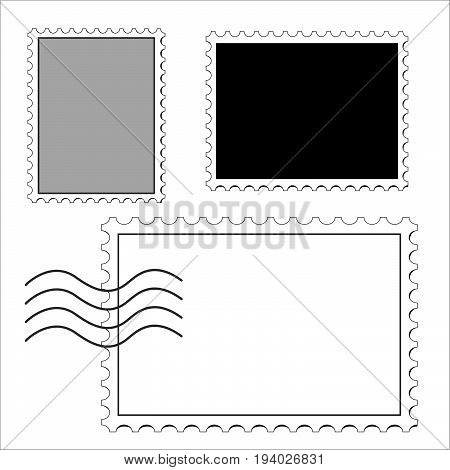 clean postage stamps template icon on white background vector illustration