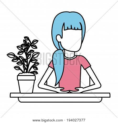 silhouette color sections of half body faceless woman assistant in desk with ponytail hair vector illustration