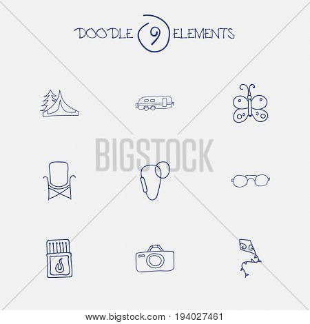 Set Of 9 Editable Trip Icons. Includes Symbols Such As Photographing, Flying Toy, Flammable Stick And More. Can Be Used For Web, Mobile, UI And Infographic Design.