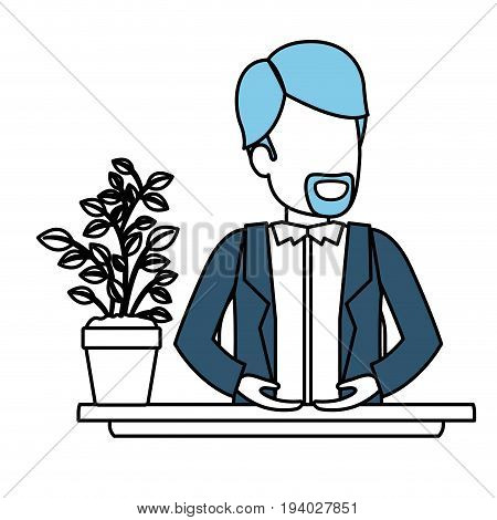 silhouette color sections of half body faceless van dyke beard man assistant in desk in jacket vector illustration