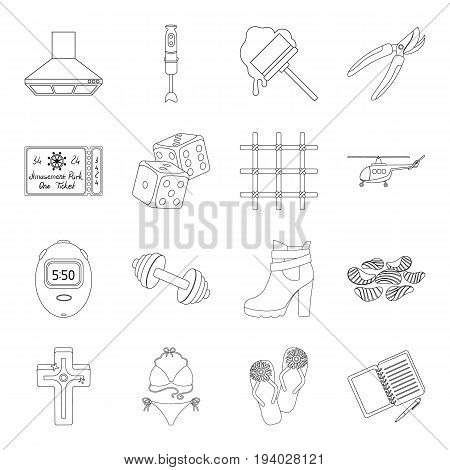religion, electrical appliance, justice and other  icon in outline style. transportation, sports, education icons in set collection.