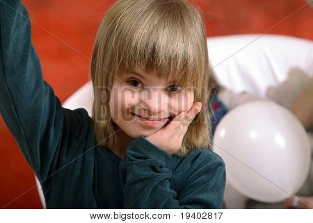 Handicapped girl with Down's Syndrome