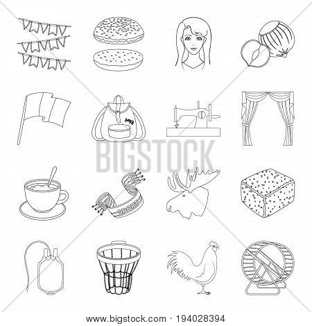 sport, education, sewing and other  icon in outline style.veterinary medicine, food, medicine icons in set collection.