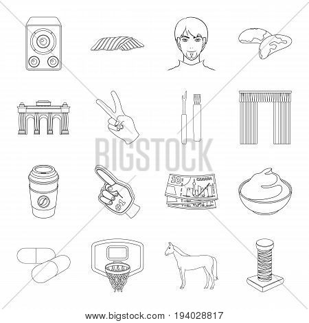 scraper, sewing, sport and other  icon in outline style.health, history, finance icons in set collection.