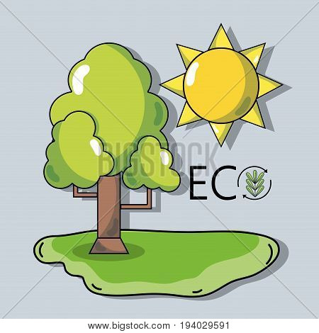 tree with sun to ecology protection and conservation vector illustration