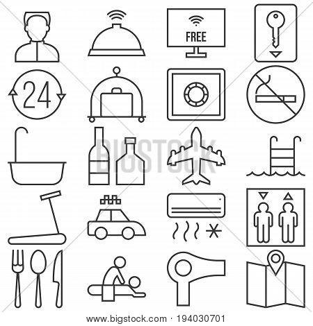 Hotel line icon set, hotel sign and symbols