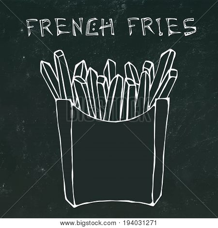 French Fries in Paper Box. Fried Potato Fast Food in a Package. Vector Illustration Isolated on a Black Chalkboard Background. Realistic Hand Drawn Doodle Style Sketch.