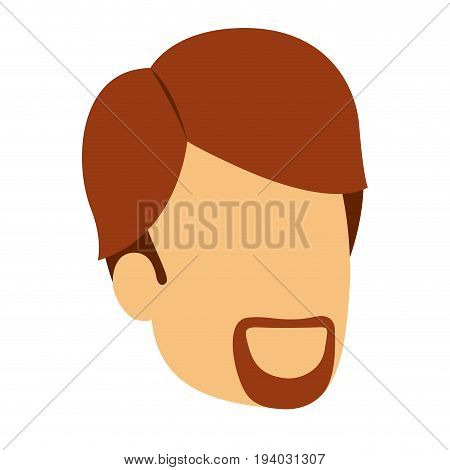 colorful silhouette of man faceless with red hair and van dyke beard vector illustration
